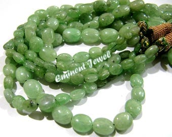 AAA Quality Natural Tsavorite 5x7mm to 12x16mm Size Beads , Plain Oval Shape Genuine Tsavorite Beads , Length 8 inches, Precious Stone Beads