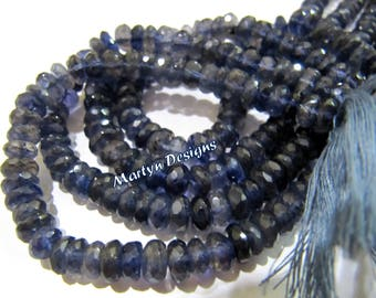 Natural Iolite Rondelle Faceted Beads , Exclusive Iolite Beads , Micro Faceted Iolite Beads, 5-6mm Size Gemstone Beads, Strand 13 inch long