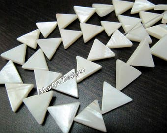 Mother Of Pearl Triangle Shape Beads , Natural Pearl Beads , Fancy Shape Pearl Beads ,16 inches Long , approx. 26 Drilled Beads per String