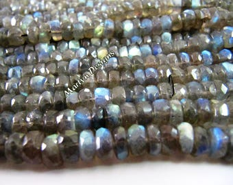 Very Good Quality Blue Fire Labradorite Beads/ Good Transparency and Luster/Size 7mm to 8mm/ Sold per strand of 13 inch long-Wholesale price