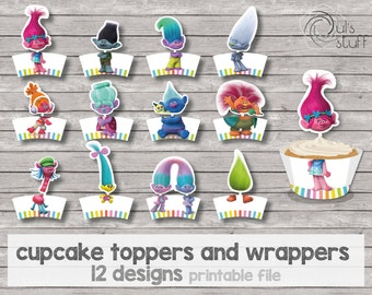 Printable Trolls cupcake toppers and wrappers