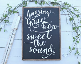 Amazing Grace wood sign,farmhouse signs,Blessed Sign,home decor,farmhouse decor,framed sign,Home and Living, Wall Decor,Shiplap