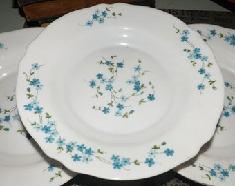Vintage (c.1980s) Arcopal France Veronica pattern milk glass rimmed soup, cereal or salad bowl with blue florals.
