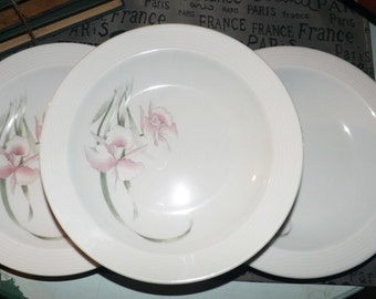 Mid-century (c.1950s) CP Colditz B83 rimmed soup | salad | cereal bowl. Colditz Porzellan. German Democratic Republic.   Pink iris flowers.