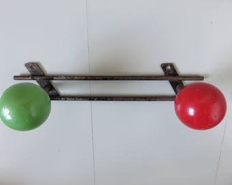 door metal 2 coat hooks wood red and green balls mid century typical 1950 1960 50's 60's typically old vintage french coat rack