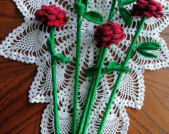 Crochet ROSE 5 pieces  amigurumi decorative flowers  - handmade red flower  - Mother day gift, roses gift for mom