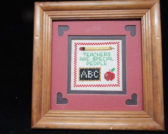 Framed Saying Teachers Are Special People Cross Stitch Matted Frame Teacher Gift Home Decor Classroom Decor Teacher Saying ABC Apple