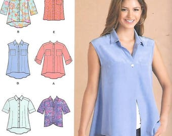 Misses Hi-Lo Tops, Loose Fit, Button Down, Sizes XS Thru XL, New Simplicity Pattern 1694