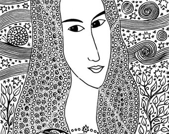 Portrait of a woman based on A. Modigliani. Mystic graphics of gel pens. Character graphics. Elegant drawing