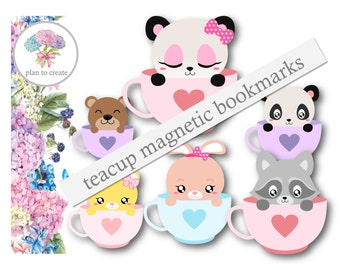 Teacup Animal Magnetic Bookmarks