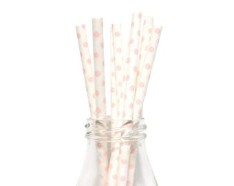 25 Light Pink Swiss Dot Paper Straws, White and Light Pink Swiss Dot Straws, Pink Paper Straws, Light Pink Party Straws, Cake Pop Sticks.