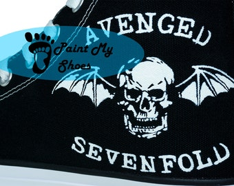 Avenged Sevenfold, converse, hand painted shoes, music shoes, free shipping in the US