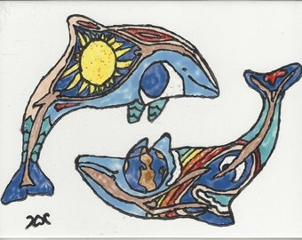 Colorful Dolphin #203 Hand Painted Kiln Fired Decorative Ceramic Wall Art Tile 6 x 8