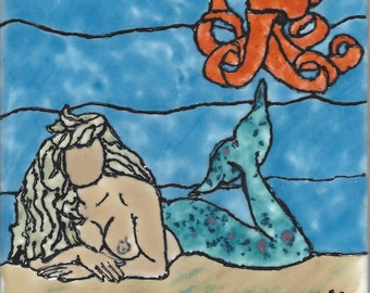 Mermaid #208 with Octopus Hand Painted Kiln Fired Decorative Ceramic Wall Art Tile 6 x 6