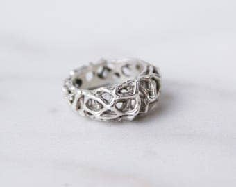 Braided massive silver ring