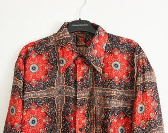 Vintage 70s ZONARC Silk Shirt Psychedelic Floral print Size 41