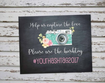 Wedding Hashtag Sign Printable, Instagram Sign, Wedding Instagram Sign, Floral Instagram Sign, Printable Hashtag Instagram Sign