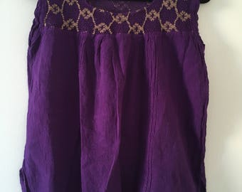 Tradicional mexican purple blouse of manta with details
