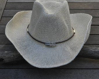Beige cowboy hat feather