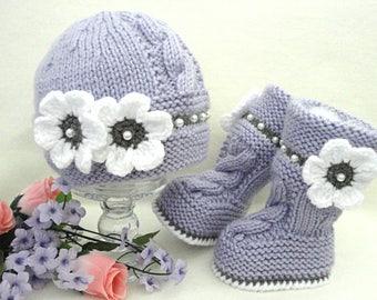 Crochet Baby Girl Set Crochet Baby Shoes Baby Hat Crochet Baby Beanie Baby Girl Purple Baby Set Knitted Baby Set Baby Booties Baby Shoes