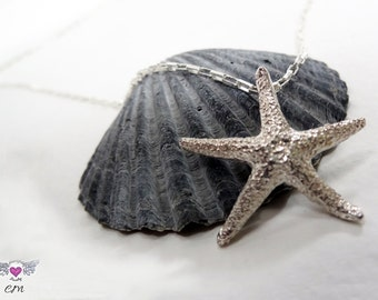 Starfish Necklace,Sterling Silver Starfish Charm,Sea Necklace, Ocean Theme,Surfer Necklace,Beach Jewelry,Starfish Story,Gift for her,Charm