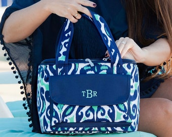 Monogrammed Lunch Bag, personalized Lunch Bag, Monogrammed Beach Cooler, Lunch Tote, Monogrammed Lunch tote, Mint and navy Lunch Cooler-PC