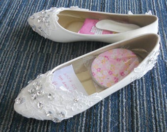 Custom  Lace  Flower  Pearls  Wedding  Shoes  Party  shoes Bridal shoes  Lace  Flat Foot Ring Wedding  Shoes