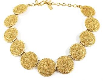 """Vintage Signed """"YSL"""" Gold Disc Necklace c. 1970"""