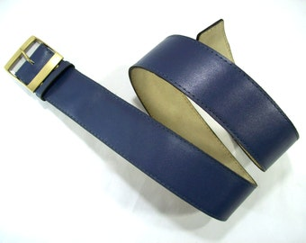 Dark Blue Leather Belt, Vintage Leather Belt, Women's Leather Belt