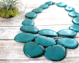 Statement necklace, Tagua necklace, Turquoise necklace, Gift ideas, Tagua nut jewelry, Bib chunky jewelry, Eco friendly jewelry, Boho