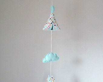 Garland tipi clouds green blue feathers graphic room decoration child baby