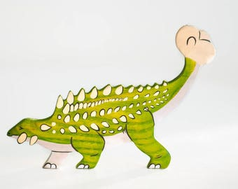 Wooden Ankylosaurus toy Dinosaur figurine Play Set for boys Pre-historic animals Pretend play Learning toys for toddlers