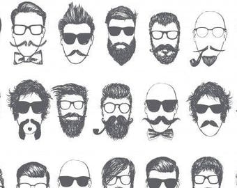 Hipster Barbershop - White by Dear Stella - Cotton Fabric - Hip - Man Buns Cotton - mustache - beards - faces