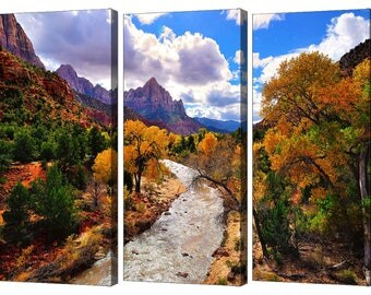 Zion National Park Virgin River Triptych Set, Modern Wall Art, Three Piece Art Set From The American Southwest With Autumn Scenery