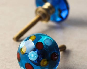 3 Crystal Dotted Blue Glass Wardrobe Cabinet Knob