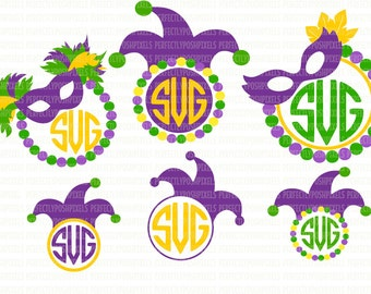Mardi Gras Monogram Frame SVG Files For Cricut SVG Files For Silhouette Printable Iron-On Transfer Commercial Use Clipart Stencil