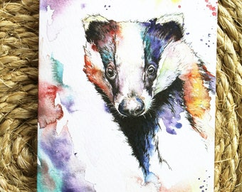Watercolour Colourful Badger Print Greetings Card