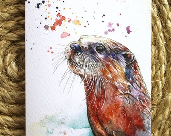 Watercolour Colourful Otter Print Greetings Card