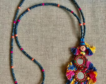 Blue, Orange, Pink Beads with Mirrored Tassel Pendant
