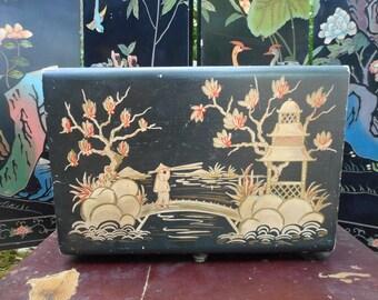 Vintage Flatware Storage, Oriental Silverware Chest