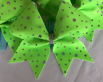 Lime Green holographic cheer bow