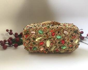 Multicolor crystal clutch