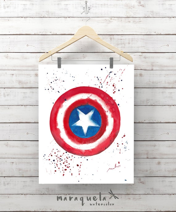 Original Captain America Shield Captain America Art Watercolor Painting - Art Boys Decor Kids Wall Art Avengers Marvel avengers,gift for him