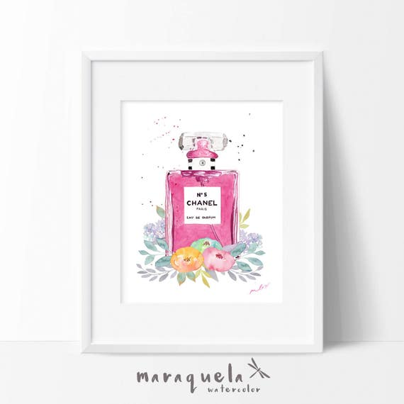 CHANEL nº 5 parfum WATERCOLOR pink bottle with FLORAL decor. Chanel n.5 original handame.Glamour wall art print Chanel rose  flowers, woman
