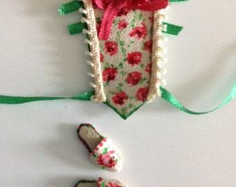 Miniature dollshouse stomacher bodice and slippers