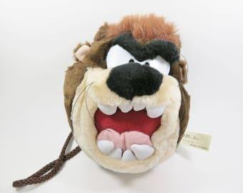 Tasmanian Devil Pouch, Vintage Tasmanian Devil Bag, Taz Looney Tunes Purse, Looney Tunes Plush, Cartoon Character Child's Purse, Bugs Bunny
