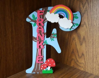 Handmade Personalised Girls Woodland Rainbows Toadstools Hand Painted Door Sign Plaque Letter Girls bedroom decor