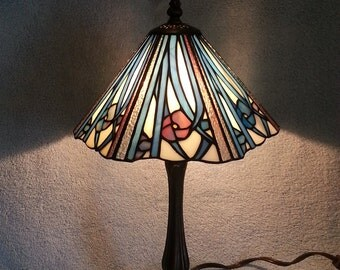 Stained Glass Lamp - Floral Motif and Geometric Design