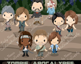 Zombie apocalypse clipart, zombie clipart, zombie killers, walking zombie LN0145