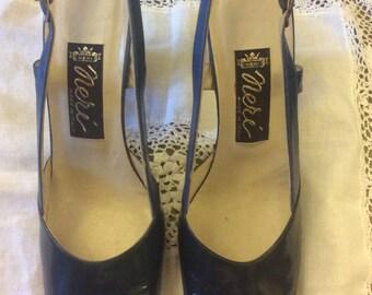 Vintage - Neri Blue Slingback Shoes - Size 37 1/2